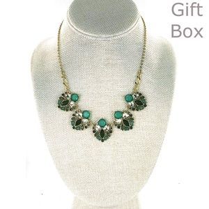 The Limited Green Rhinestone Statement Necklace